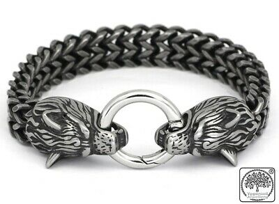 Stainless Steel Viking Wolfs Head Dragon Mesh Chain Bracelet Vintage Silver • 13.95£
