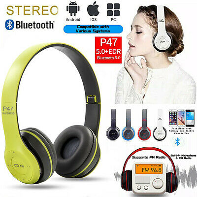 £8.56 • Buy  Wireless Bluetooth 5.0 Headphones Noise Cancelling Over Ear Headset With Mic