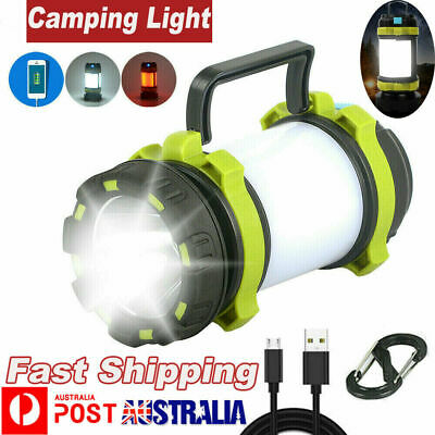 AU21.89 • Buy Rechargeable LED Camping Lantern Outdoor Tent Light Lamp Torch Power For Phone