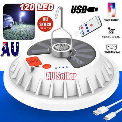 AU19.89 • Buy Rechargeable 120 LED Camping Tent Light USB Solar Lantern 60W Outdoor BBQ Lamp
