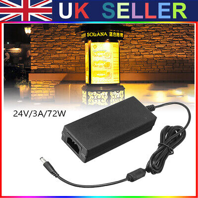 £10.93 • Buy 24V 3A 72W AC DC Switching Power Supply Pack LED Adapter Charger Desktop Black