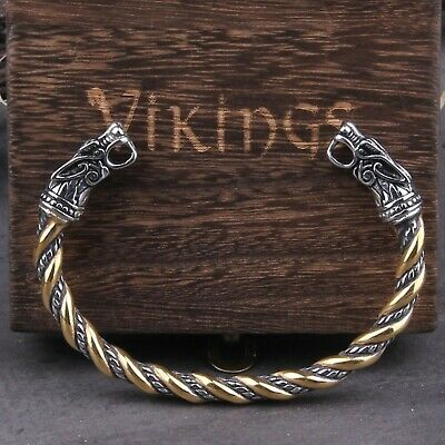 Viking Open Cuff Bracelet Fenrir Odin Wolf Head Bangle Titanium Stainless Steel  • 13.95£