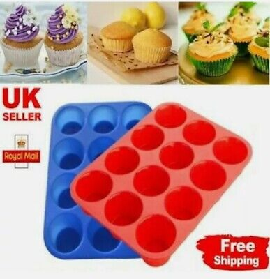 £4.49 • Buy Silicone Large Muffin Yorkshire Pudding Mould Bakeware 12 Cup Cake Baking Tray