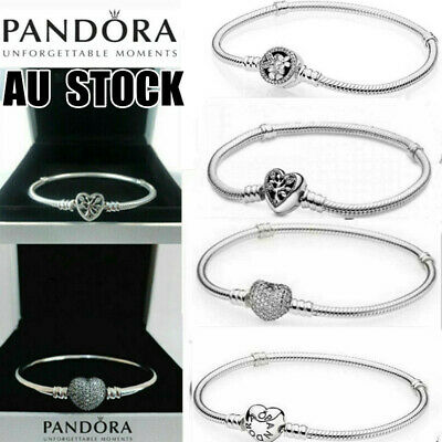 AU17.68 • Buy Genuine Pan Dora Moments Heart Clasp Chain 925Silver Bracelet Mother Women Gift