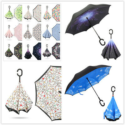 AU29.99 • Buy Windproof Upside Down Reverse Umbrella Double Layer Inside-Out Inverted C-Handle