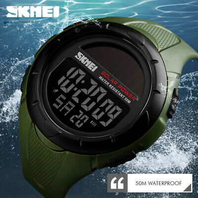 $ CDN12.17 • Buy SKMEI Solar Power Men Sports Watch 50m Waterproof LED Digital Wristwatch 1405 7