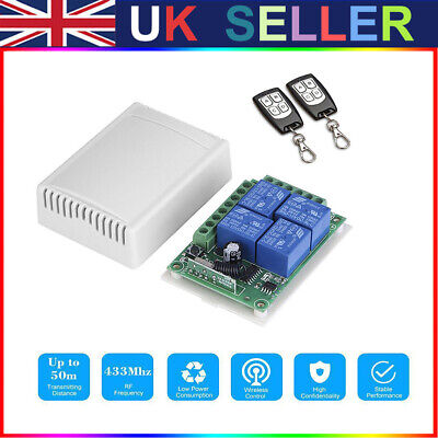 £14.07 • Buy DC 12V 4CH 433Mhz Wireless Remote Control Switch With 2 Transmitter UK