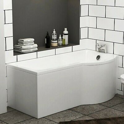 Abacus 1500 X 850mm Gloss White P-Shaped Right Hand Shower Bath Tub With Leg Set • 78.99£