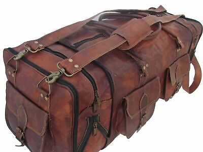£53 • Buy 30  Men's Genuine Leather Luggage Gym Weekend Overnight Sports Large Duffle Bag