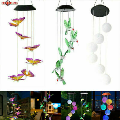 £10.58 • Buy Wind Chimes Solar Powered LED Light Changing Hanging Garden Yard Outdoor Decor