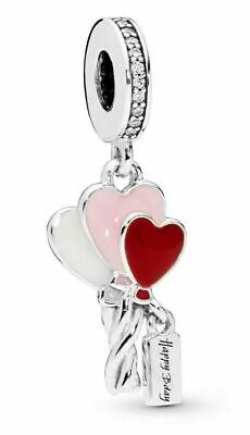 £9.70 • Buy Genuine 925 Sterling Silver Happy Birthday Heart Balloons Charm & Gift Pouch