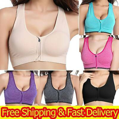 £4.93 • Buy Women's Wireless Padded Sports Bra Front Zip Yoga Cami Push Up Support Top Vest