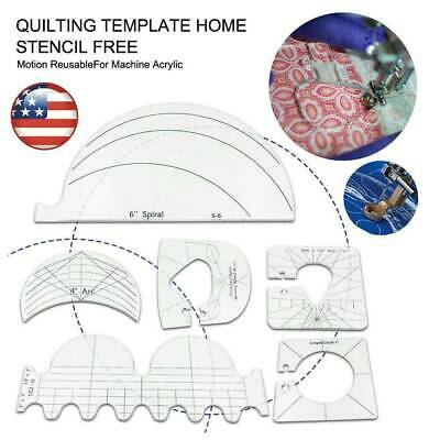 $12.02 • Buy 6pcs/set Quilting Template Home Stencil Free Motion Reusable For Machine US