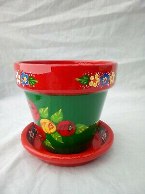 £9.50 • Buy 1Green/Red Terracotta Pot And Saucer Roses And Castles Hand Painted Bargeware #2