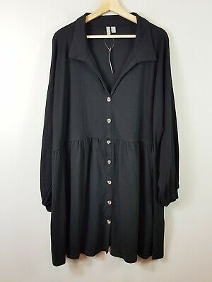 AU65 • Buy ASOS Womens Size UK/AU 18 Or US 14 Black Button Up Dress NEW + TAGS