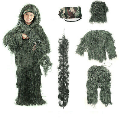 Adult / Kids Outdoor Ghillie Suit Woodland Camouflage Hunting Ghellollie Suit UK • 21.99£