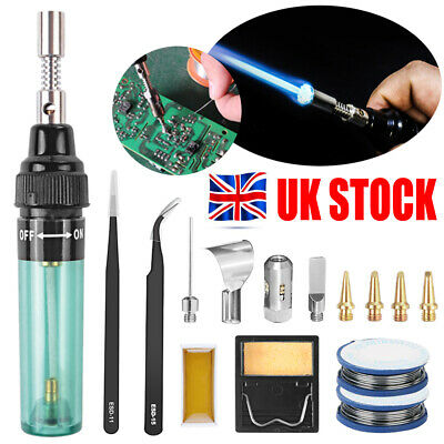 £10.49 • Buy Professional Gas Soldering Iron Kit Welding Butane Ignite Torch Tools With Case