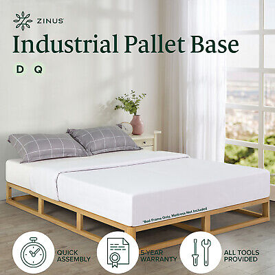 AU233 • Buy Bed Frame Double Queen Size Industrial Pine Wood Low Bed Base - Zinus
