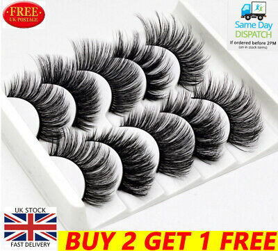 5Pairs 3D Natural False Eyelashes Long Thick Mixed Fake Eye Lashes Makeup Mink • 1.99£