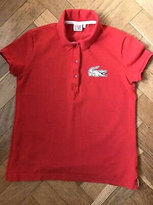 £9 • Buy Womens Lacoste Live Large Crocodile Red Polo Shirt Size Uk 10 ( L)