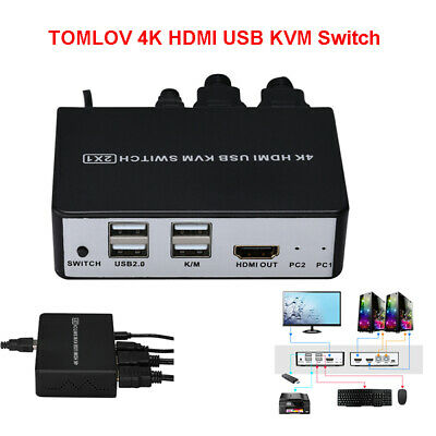 AU38.34 • Buy 2 In 1 HDMI KVM Switch USB 2 Port Switcher Splitter Monitor With Button Switch