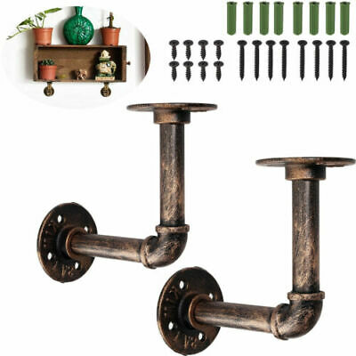 £11.55 • Buy 2X Pipe Shelf Brackets Industrial Iron Rustic Wall Floating Shelves Supports
