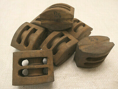 AU35 • Buy Small Vintage WOODEN Ship's Pulley X1 Two Wheels Japanese #235