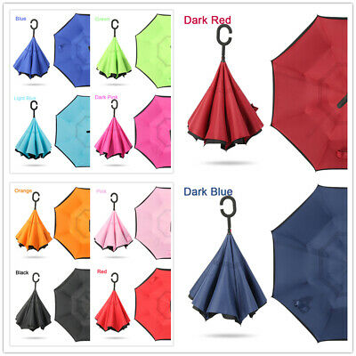 AU29.99 • Buy Upside Down Reverse Umbrella C-Handle Double Layer Windproof Inside-Out Inverted