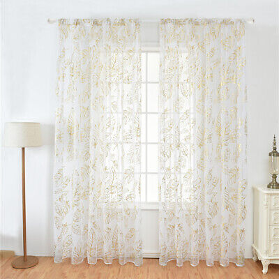 £6.31 • Buy Panels Feather Gold Stamping Window Screening Gauze Voile Yarn Curtain Decor