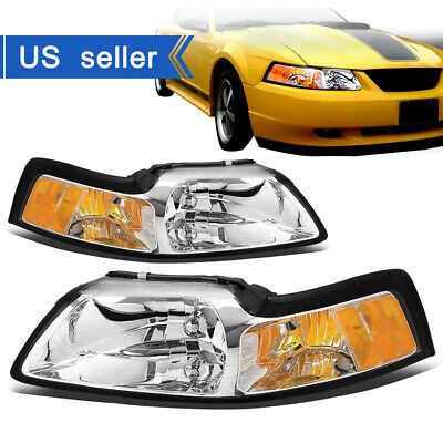 $60.99 • Buy For 99-04 Ford Mustang Chrome Housing Amber Corner Headlights Lamps Left+Right