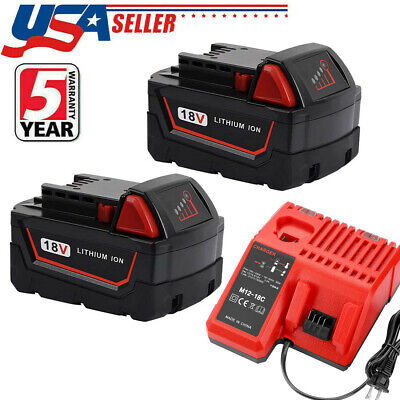 $71.99 • Buy 2X For Milwaukee M18 Lithium Battery And Charger XC 6.0 AH 48-11-1860 48-11-1850