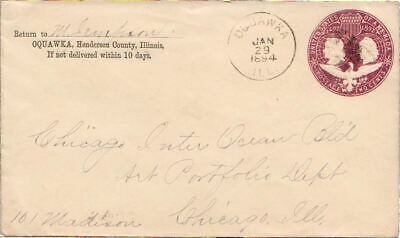 $ CDN12.50 • Buy Illinois Oquawka 1894 Cork Killer  2c Columbian Envelope.