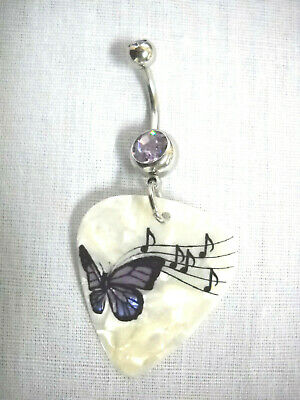 £4.09 • Buy PURPLE BUTTERFLY SHEET MUSIC NOTES PRINTED GUITAR PICK 14g PURPLE CZ BELLY RING