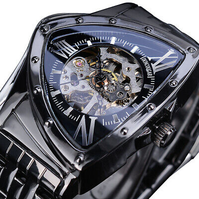 £21.52 • Buy Men's Stainless Steel Automatic Mechanical Watches Skeleton Triangle Wristwatch