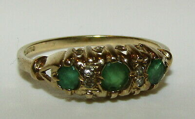 AU312.61 • Buy Fine, Vintage Or Antique 9 Ct Gold Emerald And Diamond Ring