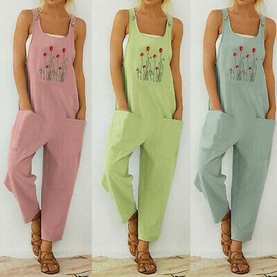 AU28.79 • Buy Women's Embroidered Overalls Jumpsuit Romper Casual Loose Playsuit Dungarees