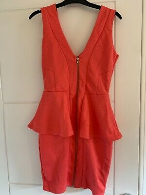 River Island Coral Pink Peplum Dress With Zip Front. Size 8. • 6£