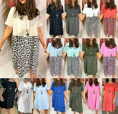 £14.90 • Buy Womens Ladies Leopard Print Necklace Button Summer Long T-Shirt Smock Dress Tops