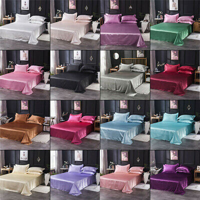 AU24.69 • Buy Satin Silk Flat Bed Sheet Solid Colour Bedding Quilt Cover Pillowcase Home Decor