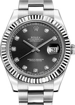 $ CDN14254.52 • Buy Rolex Datejust II Steel & 18k WG Bezel Diamond Dial 41mm Watch B/P '18 116334