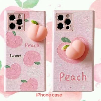 £9.84 • Buy 3D Relief Squichy Peach Phone Case Faux Leather Soft Cover For IPhone 12 11 XS X