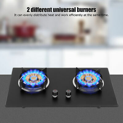 AU160.54 • Buy 4.2KW 75CM Gas Cooktop Glass Double Burner Gas Hob Cook Tops Cooking Stove 2021