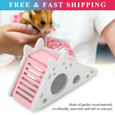 £5.88 • Buy Pet Rat Hamster Toy Wood With Ladder Slide Exercise House Cage Nest Accessories