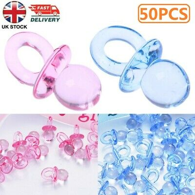 £3.69 • Buy 50x Blue Pink Pacifiers Baby Shower Party Favours Christening Party Cake Decor