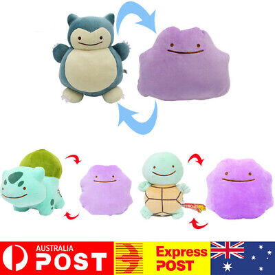AU28 • Buy Pokemon Ditto Snorlax Squirtle Transform Reversible 35cm Plush Teddy Soft Toy