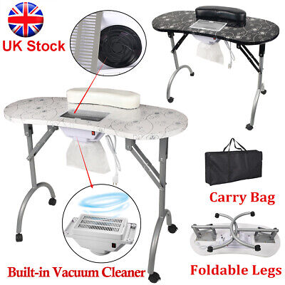 £97.59 • Buy Nail Art Table Manicure Work Station W/Dust Collector Bag Salon Mobile Portable