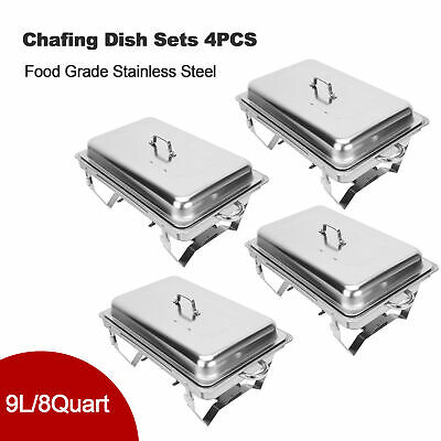 £62.99 • Buy 9L/8Q 4 Pack Chafer Chafing Dish Sets Pans Stainless Food Warmer Steel Catering
