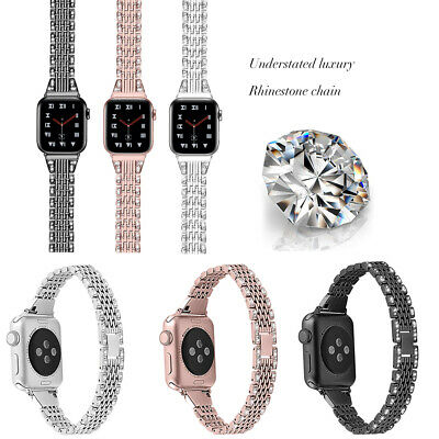 $ CDN16.85 • Buy For Apple Watch Series 6 5 4 3 2 1 Bling Diamond Stainless Steel Band Strap