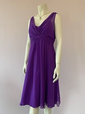 AU32.15 • Buy Lk Bennett 14 100% Silk Dress Purple Flared Draped Chiffon Party Wedding