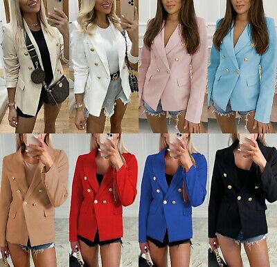 £25.90 • Buy Women's Ladies Gold Button Double Breasted Padded Shoulder Blazer Jacket Outwear